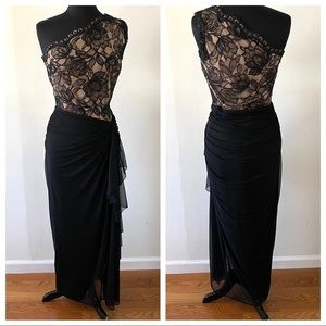 Tadashi Shoji 73489L One Shoulder Bloom Lace Black Nude Draped Dress Gown Sz. 8